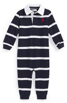 Ralph Lauren Rugby Stripe Romper (Baby Boys) available at  Nordstrom Romper  Pattern, e23ced2914d