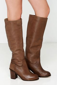 04a4b9eda Seychelles Obsidian Whiskey Brown Leather Knee High Heel Boots at Lulus.com!