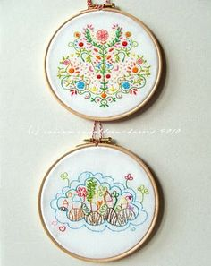 embroidery hoop framing tut - plus i love these colors and patterns. Embroidery Hoop Crafts, Embroidery Applique, Cross Stitch Embroidery, Embroidery Patterns, Cross Stitching, Fabric Crafts, Sewing Crafts, Sewing Projects, Diy Crafts