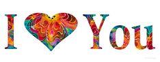 I Love You 17 - Heart Hearts Romantic Art by Sharon Cummings.