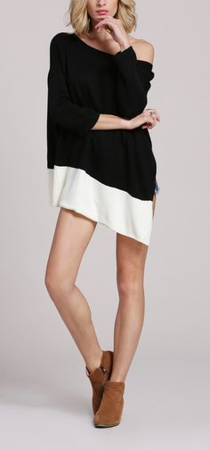 Do I go with a black or white coat? How about both with this black white color block asymmetric coat.