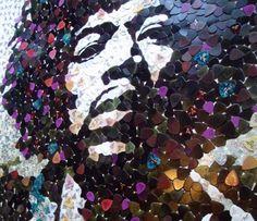 Hendrix portrait with 5000 guitar picks #recycled #music #hendrix