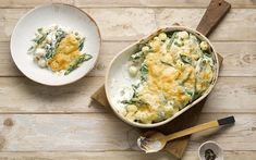Break from your usual pasta repertoire and try this satisfyingly creamy baked gnocchi and green vegetables recipe