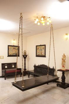Oonjal - Wooden Swings in South Indian Homes - Oonjal – Wooden Swings in Indian Homes - Indian Home Design, Indian Interior Design, Ethnic Home Decor, Indian Home Decor, Living Room Designs, Living Room Decor, Dining Room, Estilo Colonial, Swing Design