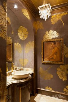 Gold Gingko Powder Bath - This Woodlands, TX powder room is elegantly finished with chocolate pearl fresco on the walls with all over gold foil gingko leaf design, gold foil ceiling and trim as well as gold wax detailing on the vanity. Bad Inspiration, Bathroom Inspiration, Bathroom Ideas, Wc Decoration, Leaf Stencil, Stencil Decor, Wall Stencil Patterns, Cutting Edge Stencils, Bathroom Wallpaper