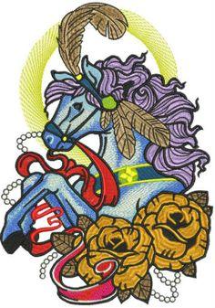 Circus horse machine embroidery design. Machine embroidery design. www.embroideres.com
