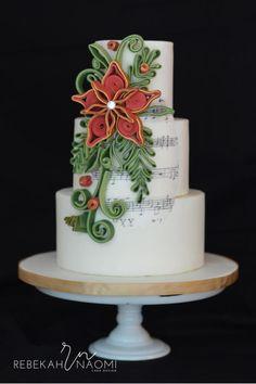Quilled Christmas Wedding Cake by Rebekah Naomi Cake Design