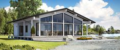 Innovative customizable log cabin kit homes from Finland! Cabin Kit Homes, Cabin House Plans, Log Cabin Kits, Log Homes, Prefab Log Cabins, Prefab Cottages, Prefab Homes, Modern Lake House, Modern Cottage