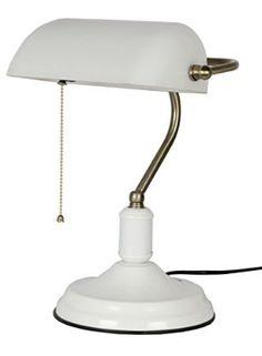 Glitz Banker's Table lamp, White shade, white body. (WHITE)