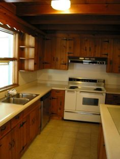 A Little Kitchen Lightens Up Knotty Pine Fox And Hound