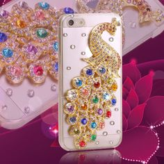 2014 NEW Arrival Hot Sale Colorful Luxury 3D Peacock Diamond Metal Crystal Skin Case For  iPhone 5 5S 5C
