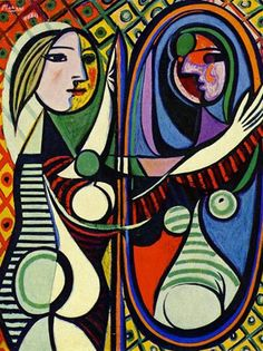 Het meisje voor de spiegel - Piet Mondriaan (abstract)   Op dit schilderij is een vrouw te zien, die in de spiegel kijkt. Als je naar de vrouw kijkt ziet ze er normaal uit. Als je naar haar spiegelbeeld kijkt zie je donkerdere kleuren. De vrouw is levendig, haar spiegelbeeld is het tegenovergestelde: on zeker, droevig. Ook dit vind ik bij depressie passen. Van buiten zie je niks, maar van binnen kom je pas echt te weten wat er aan de hand is.