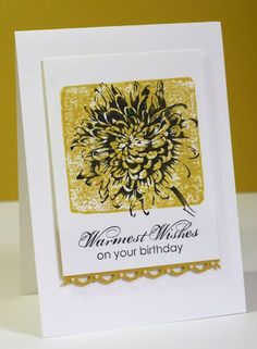 CAS Birthday Card - Adapt for use with Stampendous Jumbo Dahlia Stamp? #CAS #Cards #Stash