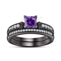 Prong Set 2.CTW.  D/VVS1 Diamond & Amethyst Over Pure 925 Silver Bridal Ring Set #BR925