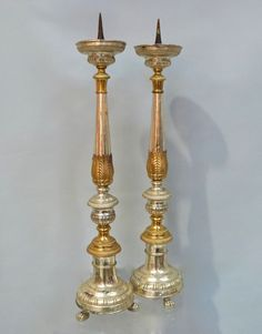 A Pair of Italian Steel & Brass Alter Sticks - Stock - Blanchard Collective | Antiques, Marlborough
