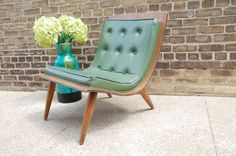 Reserved for Asia Vintage 1958 Carter Brothers Scoop Bentwood Chair Mid Century in Green