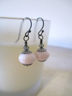 Vintage Glass Bead Earrings - Pale Pink  $18.00