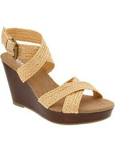 Womens Braided Wedges