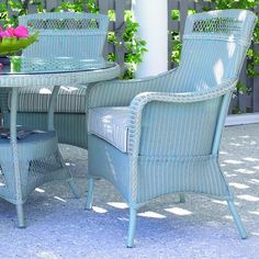 Wicker Table And Chairs, Outdoor Dining Chairs, Wicker Furniture, Outdoor Living, Outdoor Furniture Sets, Outdoor Decor, Patio Chair Cushions, Luxury Furniture, Furniture Makeover