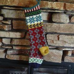 Colorful and Whimsical Hand Knit Christmas Stockings. Love the argyle design!