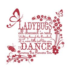 Vinyl Wall Decal Sticker Art - Ladybugs all Dressed in Red - Large - Childrens wall mural. $59.95, via Etsy.