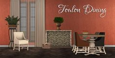 3t2 Toulon Dining  Chair (+10rc) - seating<dining Table - surfaces<tables Mantle (10 slots) - surfaces<misc Apples - deco<misc Firewood - deco<misc Also included: Collection file and icon Swatch for the recolors Multipliers for easier recoloring Credit: Angela Download: BOX Mediafire