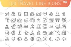 Travel Line Icons. Set 1 by Azaze11o on @creativemarket