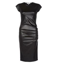 Black Leather-Look Zip Bodycon Midi Dress @Romy Röhrborn