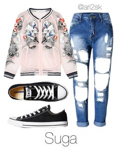 """""""Run- Suga """" by ari2sk ❤ liked on Polyvore featuring Converse"""