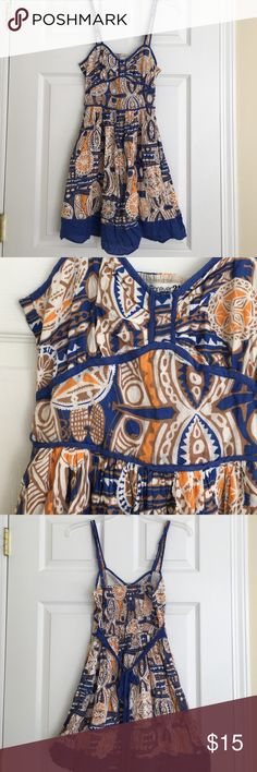 Forever 21 blue and tan print tank dress Sundress central! 100% cotton and lined. EUC. 34 inches long. Forever 21 Dresses