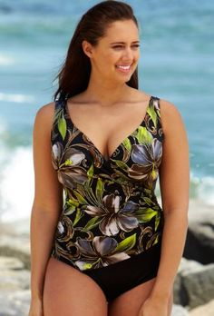 Longitude® Brown Kabuki Plus Size Surplice Swimsuit