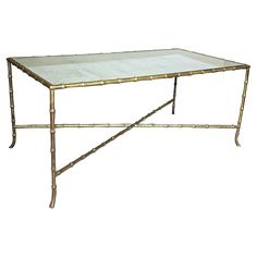 French Bagues Faux Bronze Bamboo Cocktail Table | See more antique and modern Coffee and Cocktail Tables at https://www.1stdibs.com/furniture/tables/coffee-tables-cocktail-tables