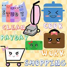Perfect to use as stickers to plan the week! Planner Clipart, To Do List, Weekly, Work, Study, Cart, Cooking, Vacuum, Money, Cute Clipart, Kawaii, Fun, Free Commercial and Personal Use