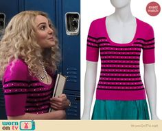 Carrie's pink top with black stripes and dots on The Carrie Diaries.  Outfit details: http://wornontv.net/13833/