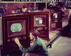 Publicity photo of CT-100 production line, RCA's first consumer color receiver. Circa 1954.