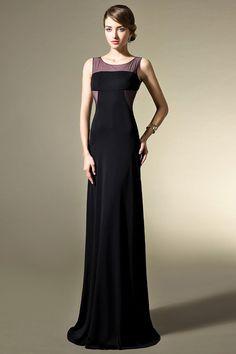 Elegant Open Back Illusion Neckline Black Formal Evening Dress JSLD0264