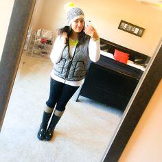 Herringbone vest, Hunter boots, neon Pom Pom beanie