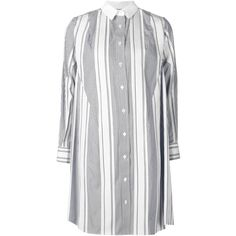 Sacai Striped Shirt Dress ($850) ❤ liked on Polyvore featuring dresses, blue, collared shirt dress, striped shirt dress, shirt-dress, white collar dress and long sleeve cotton dress