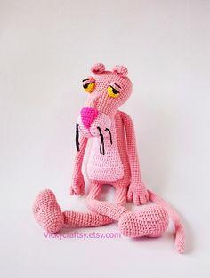 Ganchillo hecho a mano rosa Pantera Pantera Rosa de peluche