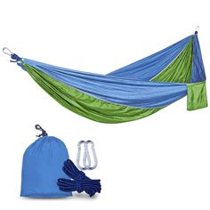 QMS Portable Camping Hammock, Lightweight Nylon Parachute Hammock, Travel Outdoor Hammock, For Outdoor,Traveling, Camping, Hiking, Backpacking -- This is an Amazon Affiliate link. You can find out more details at the link of the image.
