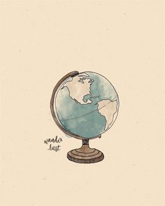Around the World GLOBE Illustration Print by AnAprilIdea on Etsy