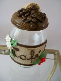 decoração café Clay Jar, Fimo Clay, Polymer Clay Art, Handmade Polymer Clay, Polymer Clay Projects, Clay Crafts, Diy And Crafts, Kilner Jars, Pasta Flexible