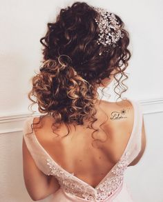 Curly bridal hair, hair wedding, wedding braids, wedding hairstyles for cur Bride Hairstyles, Curled Hairstyles, Bridesmaids Hairstyles, Hairstyles Videos, Curly Bridal Hair, Wedding Hairstyles For Curly Hair, Updo Curly, Curly Hair Styles Wedding, Naturally Curly Updo