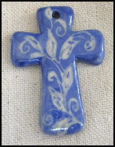 ceramic cross pendant by ValsCeramicGarden on Etsy, $8.00