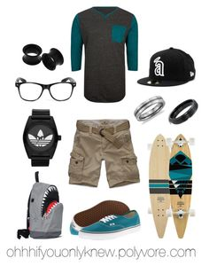 """Untitled #43"" by ohhhifyouonlyknew ❤ liked on Polyvore featuring GoldCoast, Element, Hollister Co., Vans, Vision, adidas Originals, Blue Nile, Morn Creations, dyke and my style"
