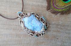 Aqua Aura Druzy Quartz Necklace. Clay by EnchantedEvolution11