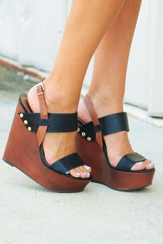 Beautiful Black Leather Wedges Look - Summer 2015 Colelction.