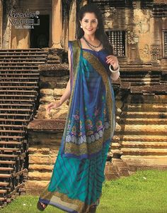 Buy #Royal Luxe #Blue #Crepe #Saree at Best Price for Rs.786/-