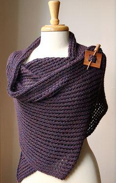 knit wool & alpaca shawl & wood shawl pin (shawl design: elena rosenberg)