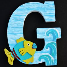 Nautical Nursery Letters, Custom Wood Letters, Beach Theme, Baby Shower Gift by AlphabetArtists on Etsy